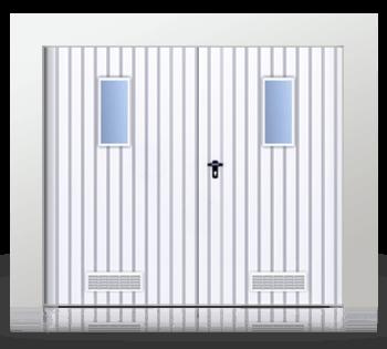 Brama rozwierna dwuskrzydłowa wypełniona blachą T -10, brama z okienkiem w układzie pionowym z kratką wentylacyjną